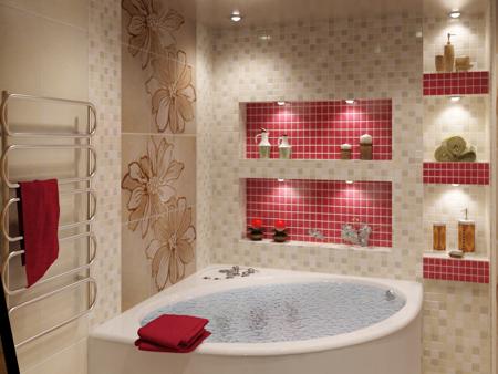 комбинирование кафеля в ванной комнате два вида